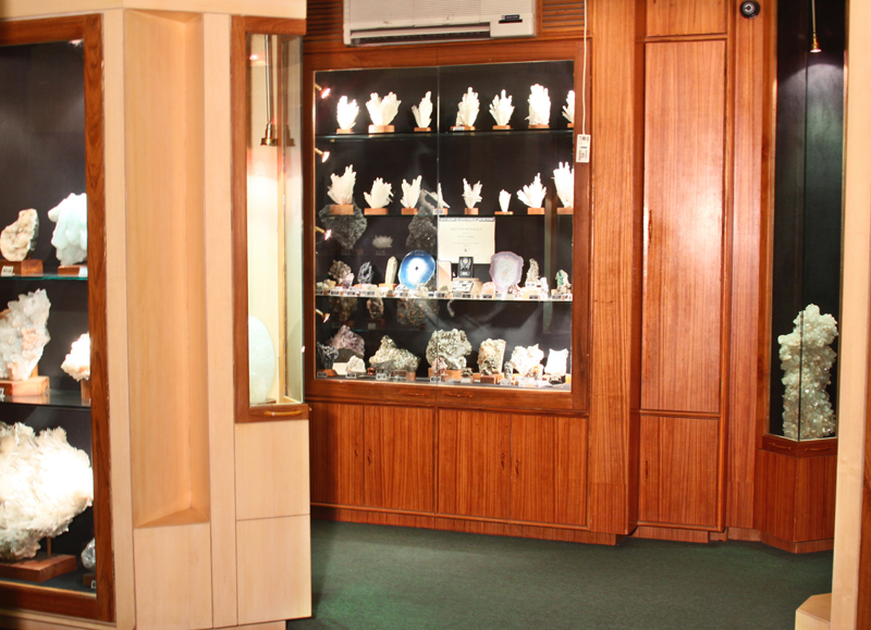 Beautifully designed display cases showcasing the Mineral & Zeolite wealth from India